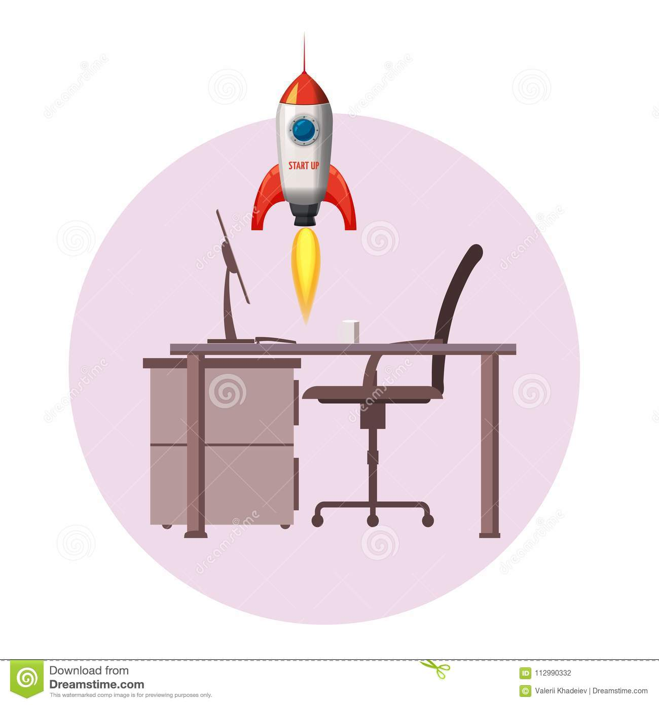 Successful start up, Rocket launch, offise, ship, vector, illustration concept of business product on a market.