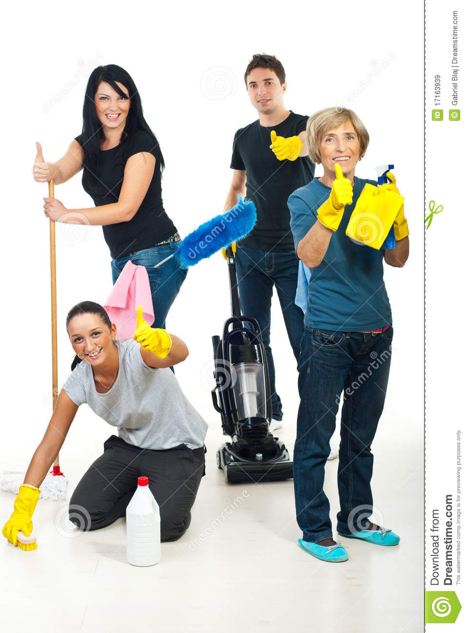 Successful Teamwork Of Cleaning Workers Royalty Free Stock
