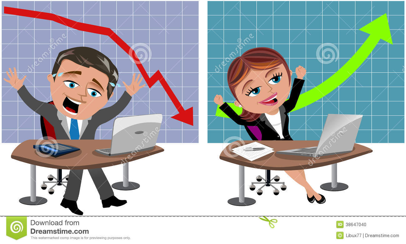Successful And Unsuccessful Business Man And Woman Stock Photo - Image ...