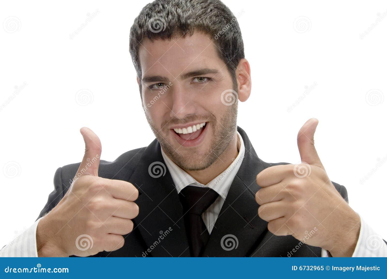 Succesvolle gelukkige zakenman met omhoog cheer