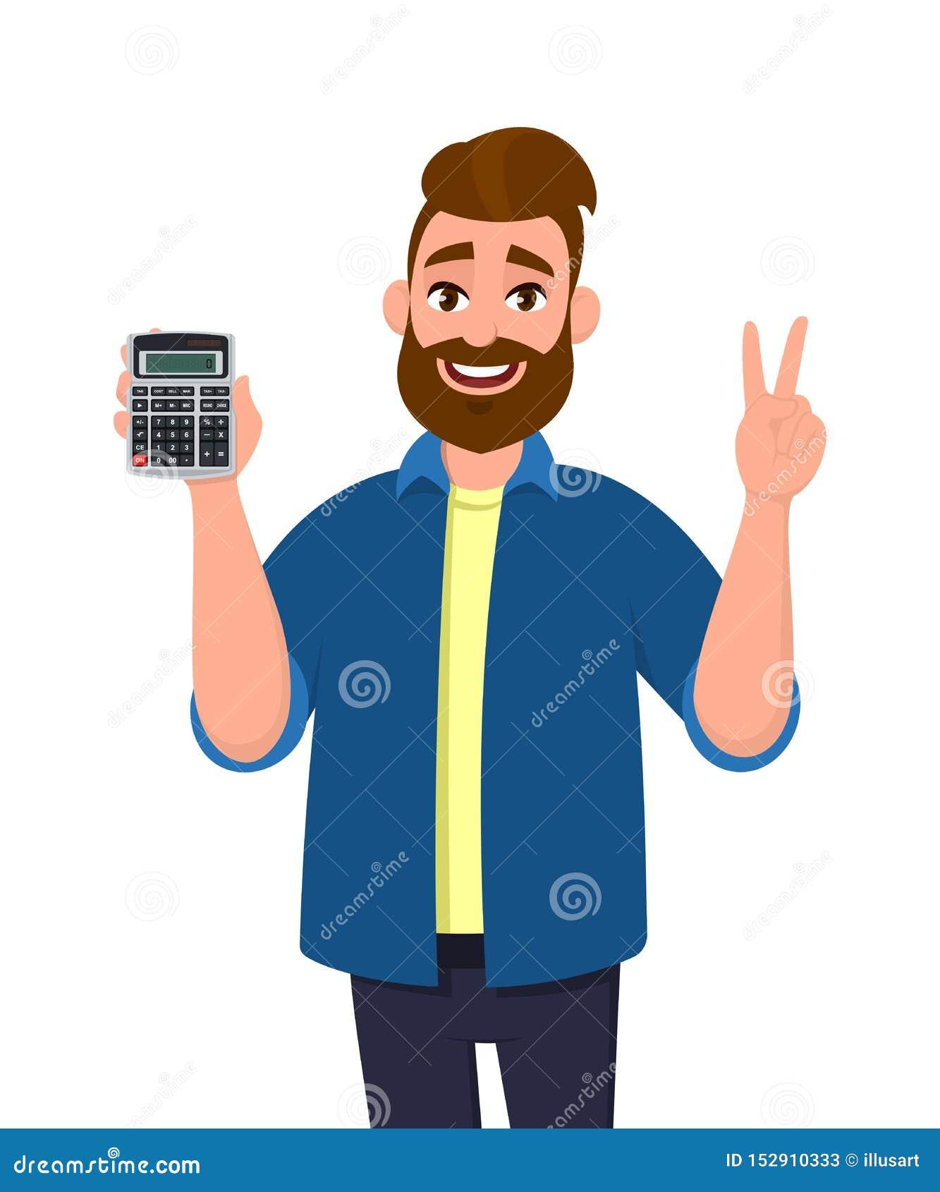 Succesvolle mens die of digitaal calculatorapparaat in hand tonen houden en, die overwinning, V, vrede of teken twee maken gestur