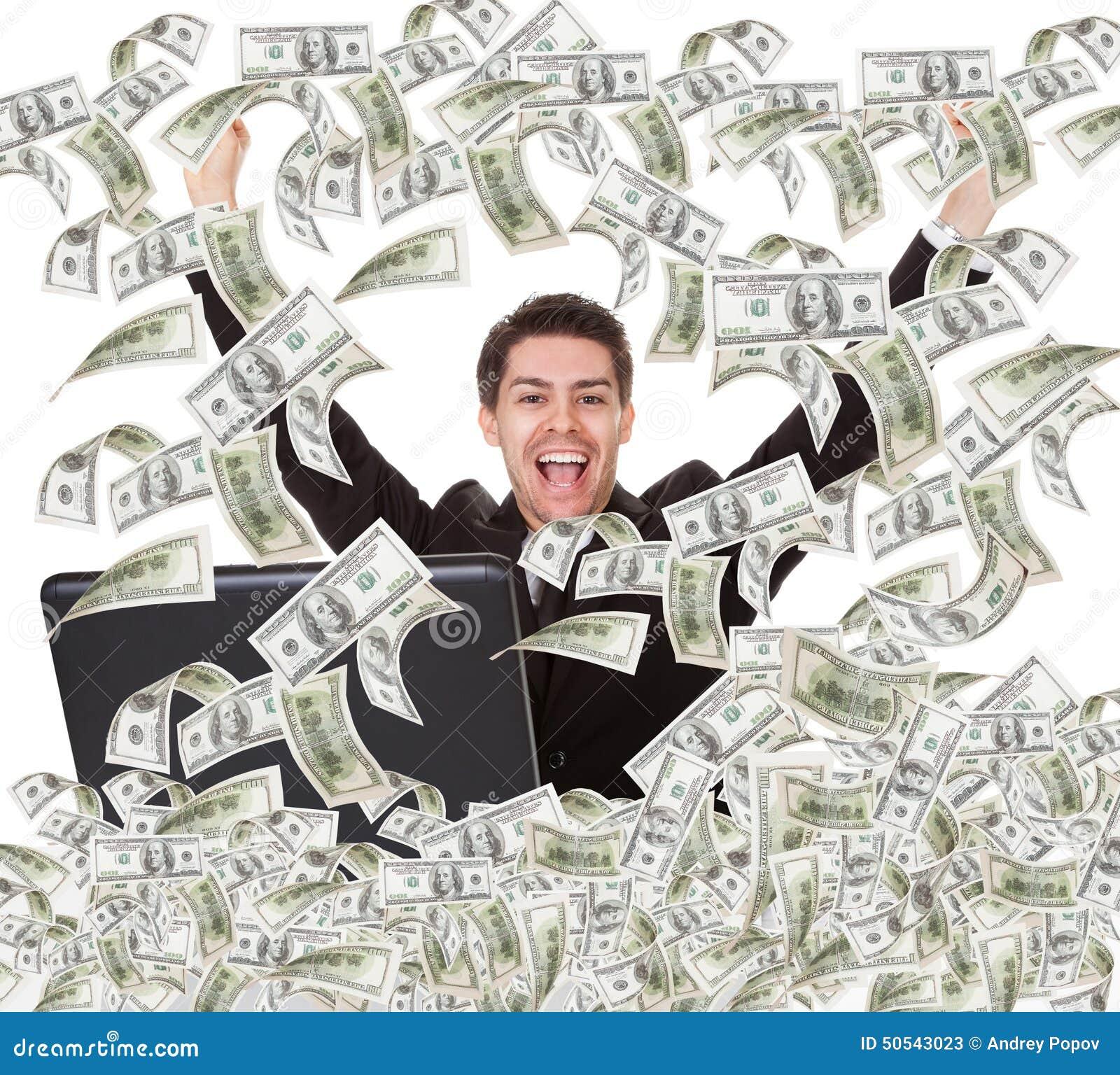 Succesvolle zakenman met geldregen