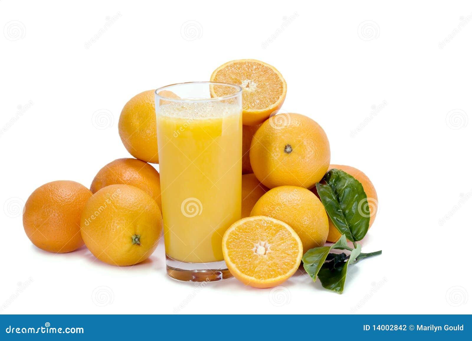 Succo ed aranci di arancia