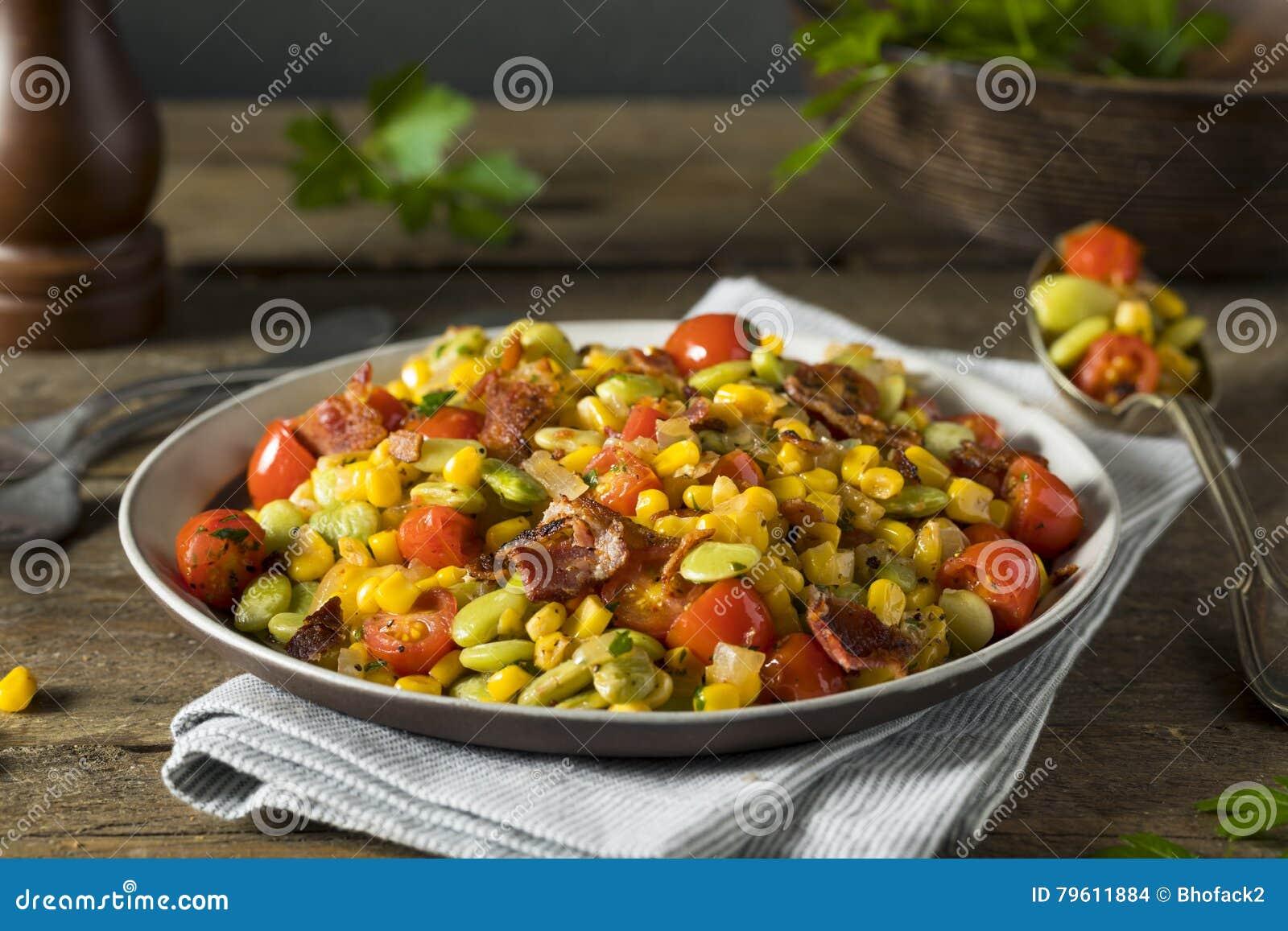 Succotash caseiro com Lima Beans