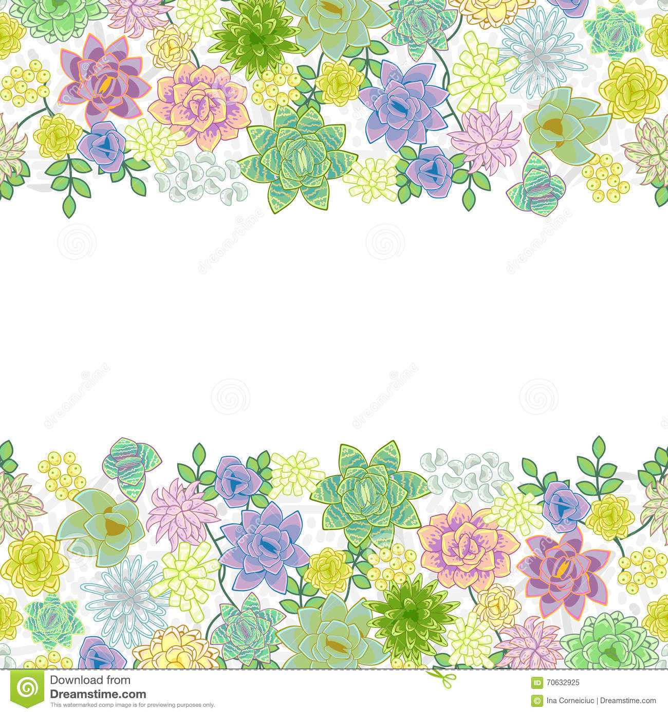 Succulent garden border card design stock vector image for Garden border design