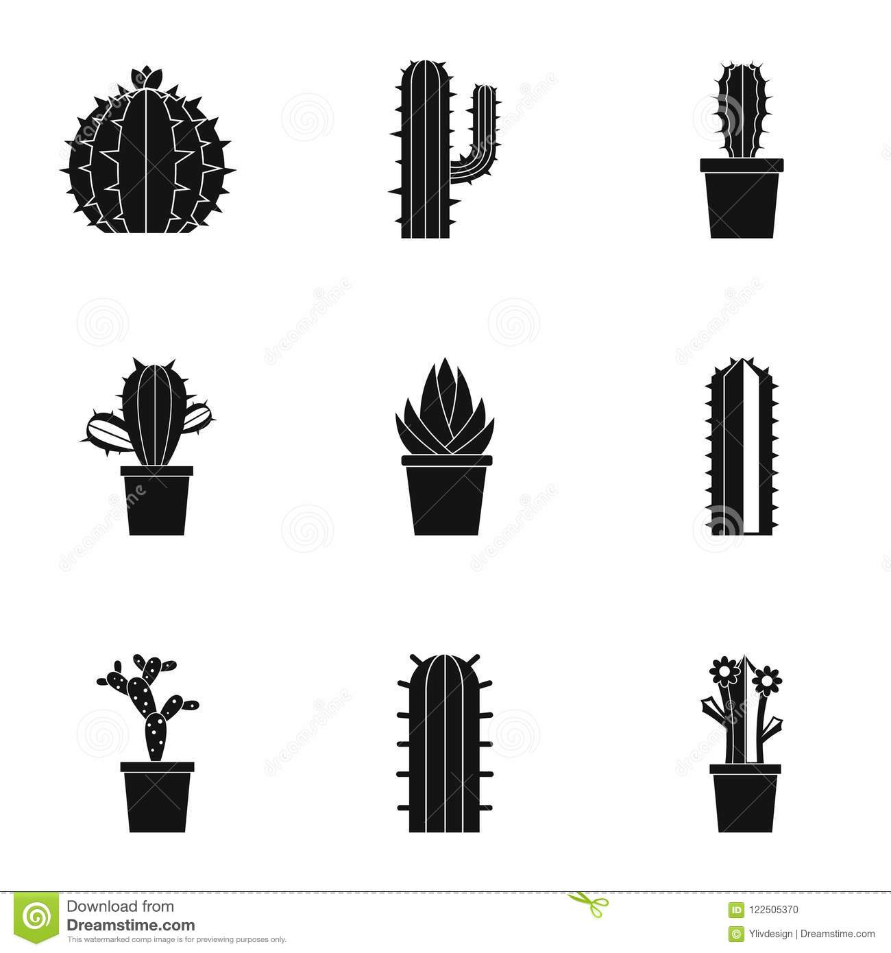 Succulent Icon Set Simple Style Stock Vector Illustration Of Drawing Simple 122505370