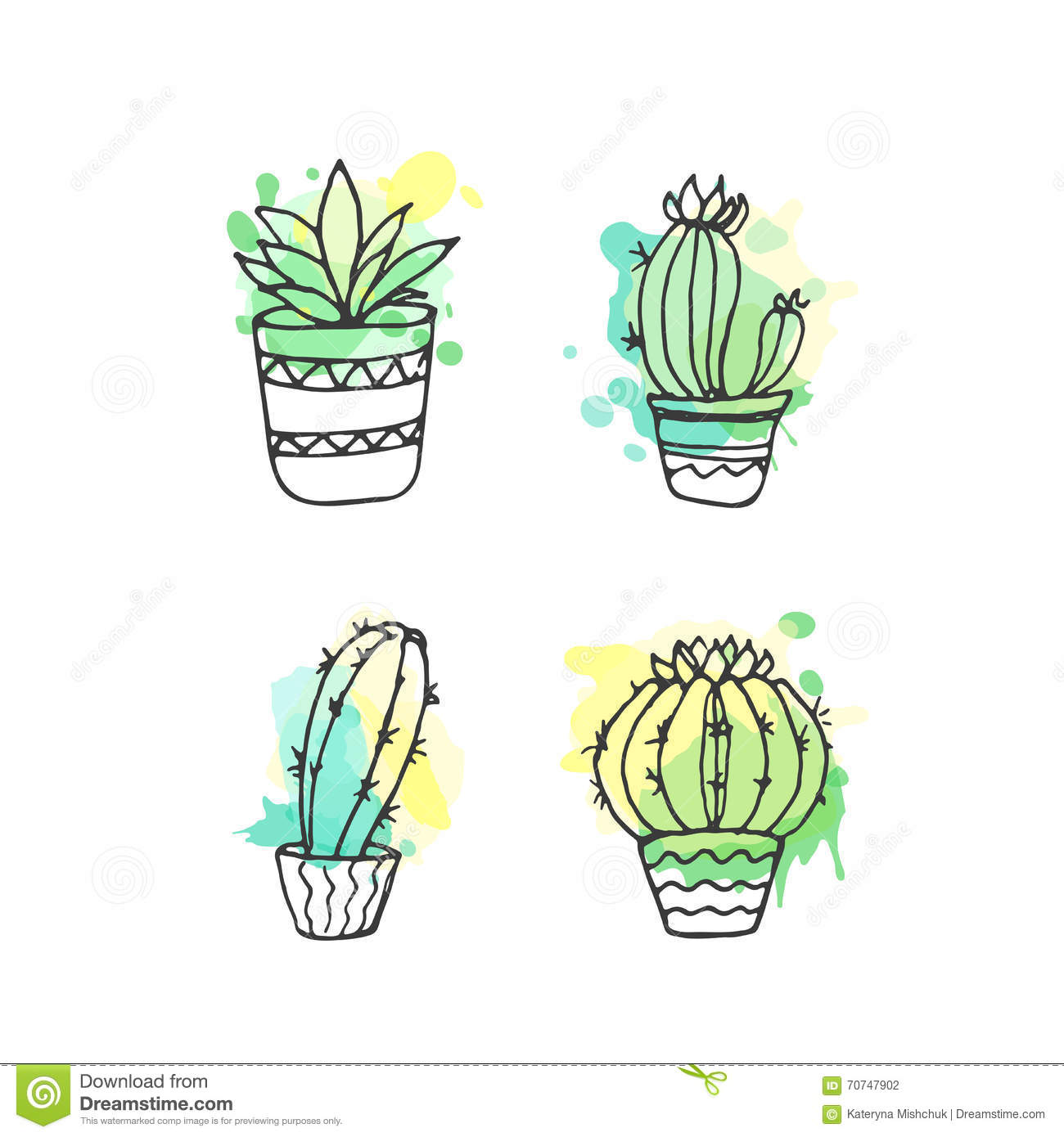 Vector Cactus Hand Drawn Set With Paint Splashes. Cacti And In Door Plants  In Pots With Colorful Splatter. Exotic Mexican Flora Design.