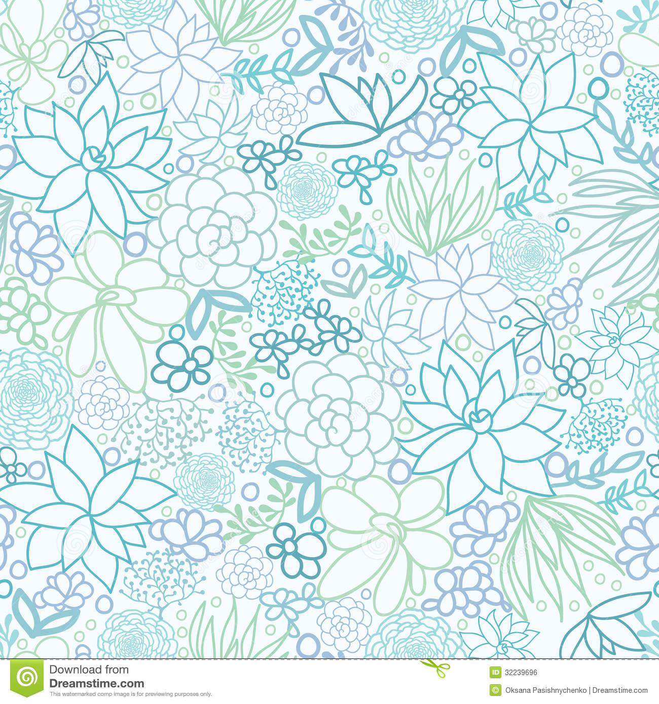 Succulent Plants Seamless Pattern Background Royalty Free