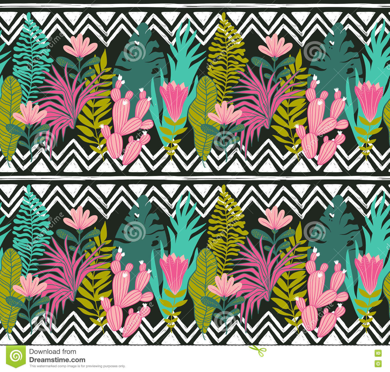 Succulents Cacti Plant Vector Seamless Pattern Botanical