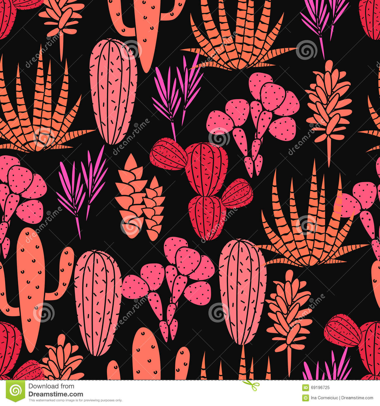Tropical Home Decor Fabric Succulents Plant Vector Seamless Pattern Botanical Black