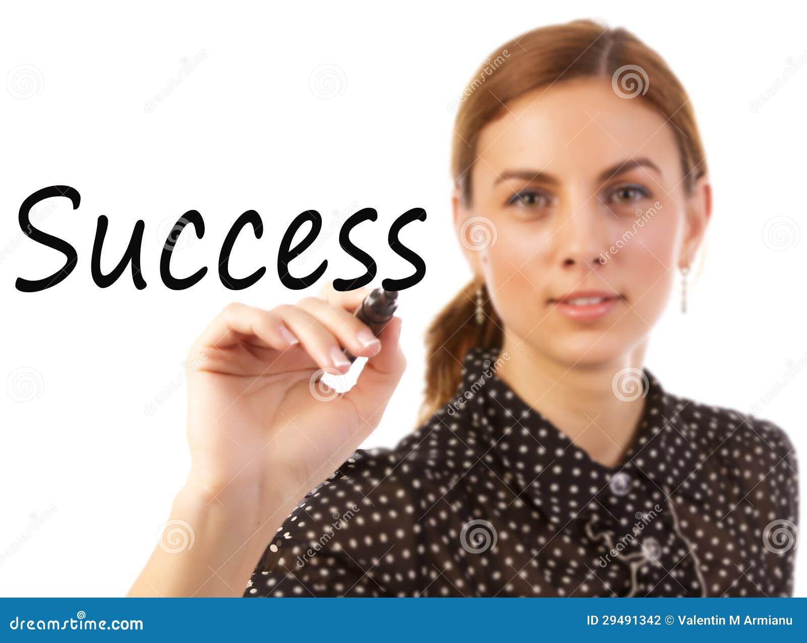 Sucesso da escrita da mulher de negócio