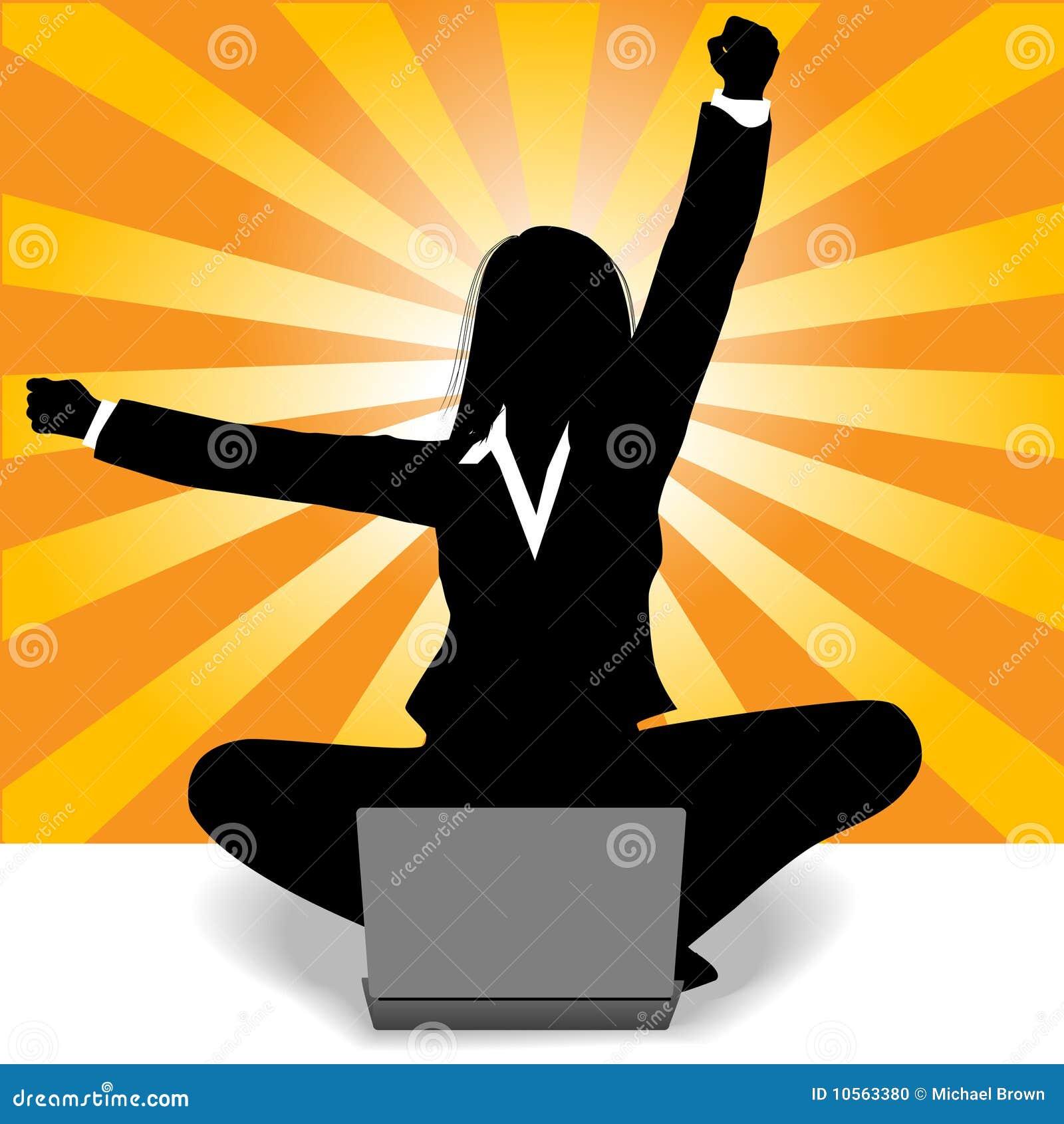 Sucesso do computador portátil da celebração da mulher de negócio