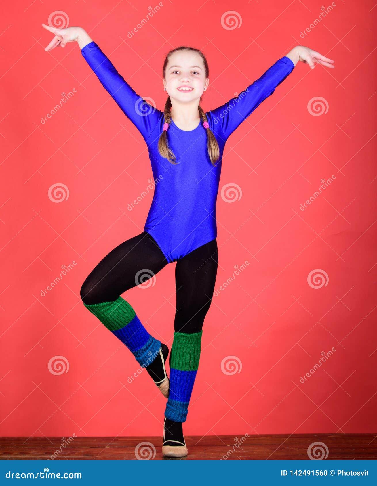 Sucesso Ilustração do bailado dancer Atividade da infância gymnastics Desportista feliz da criança Exercício do gym da acrobacia