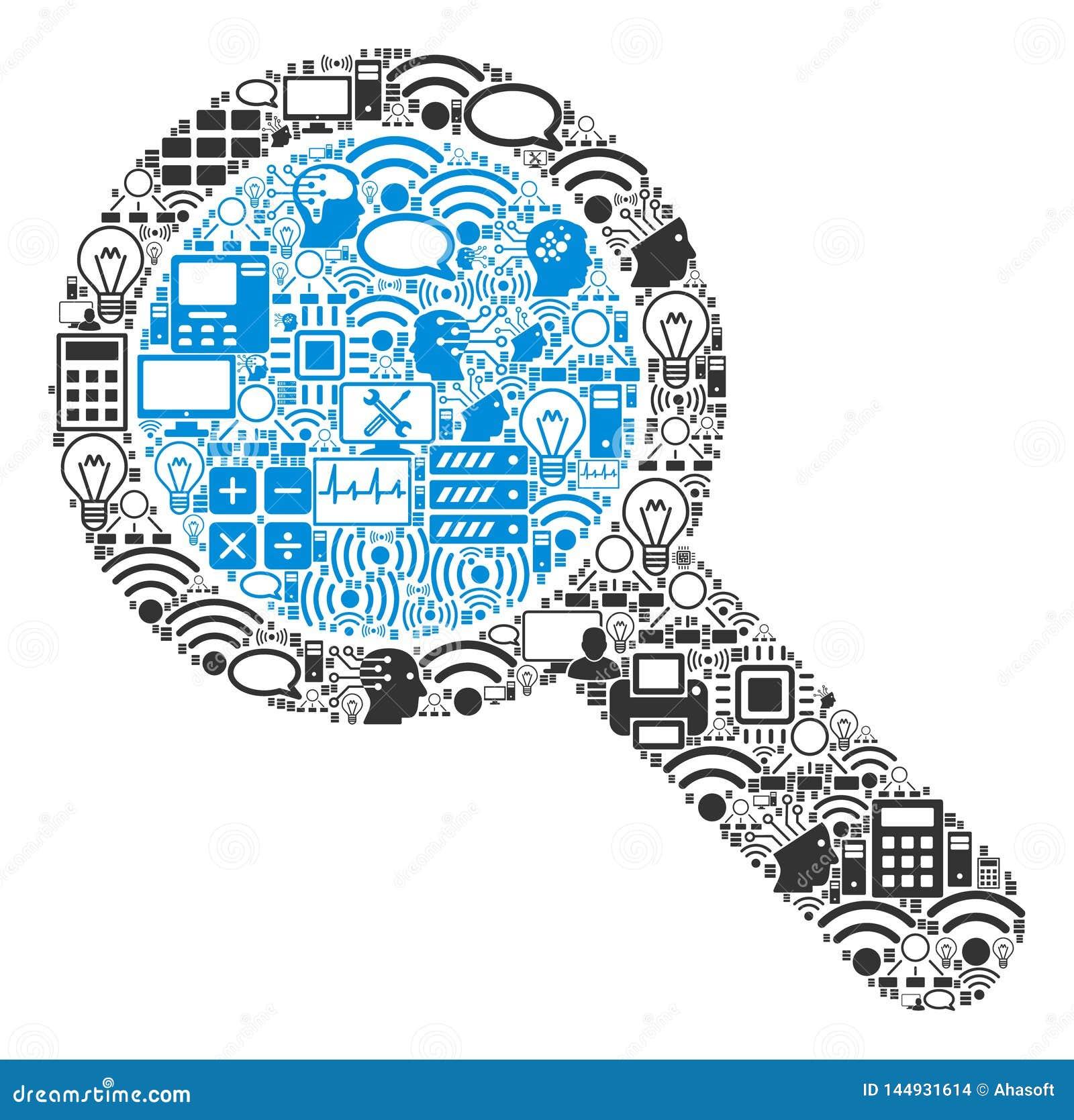 Suchwerkzeug-Mosaik-Ikone für BigData und die Datenverarbeitung