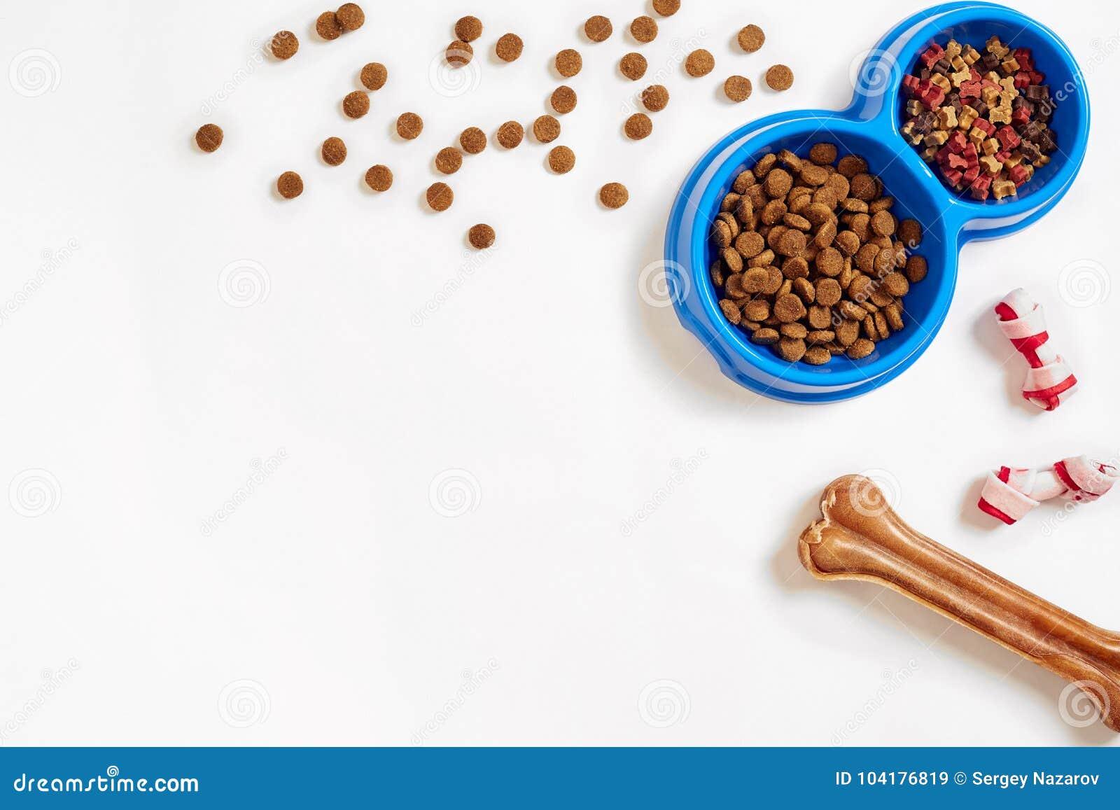 Suchy zwierzęcia domowego jedzenie w pucharze i kości na białego tła odgórnym widoku