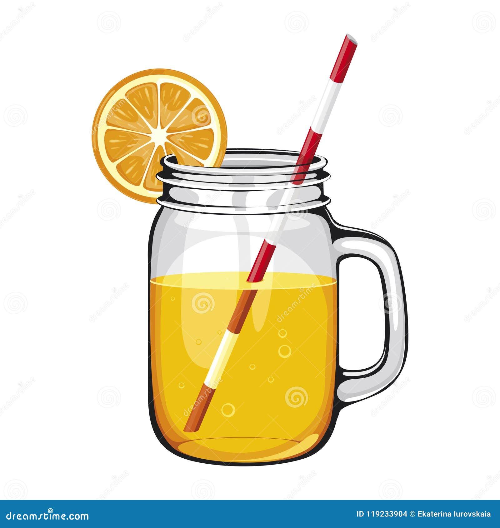 Suco de laranja, batido, em um frasco de pedreiro com uma palha, DECORADA COM UMA FATIA ALARANJADA
