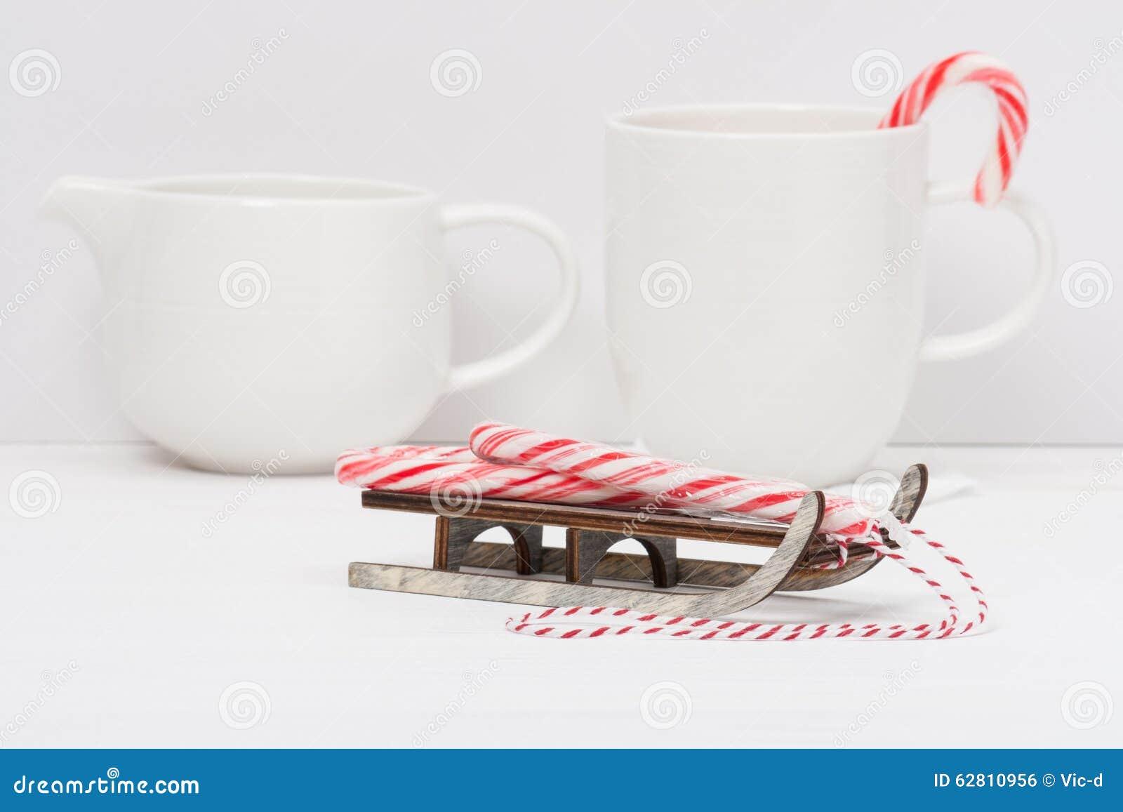 Sucrerie Cane On Wooden Sledge de Noël blanc
