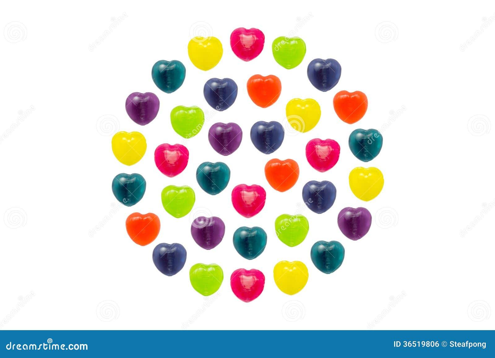 Sucrerie de coeur réglée dans la pleine forme de cercle pour Valentine