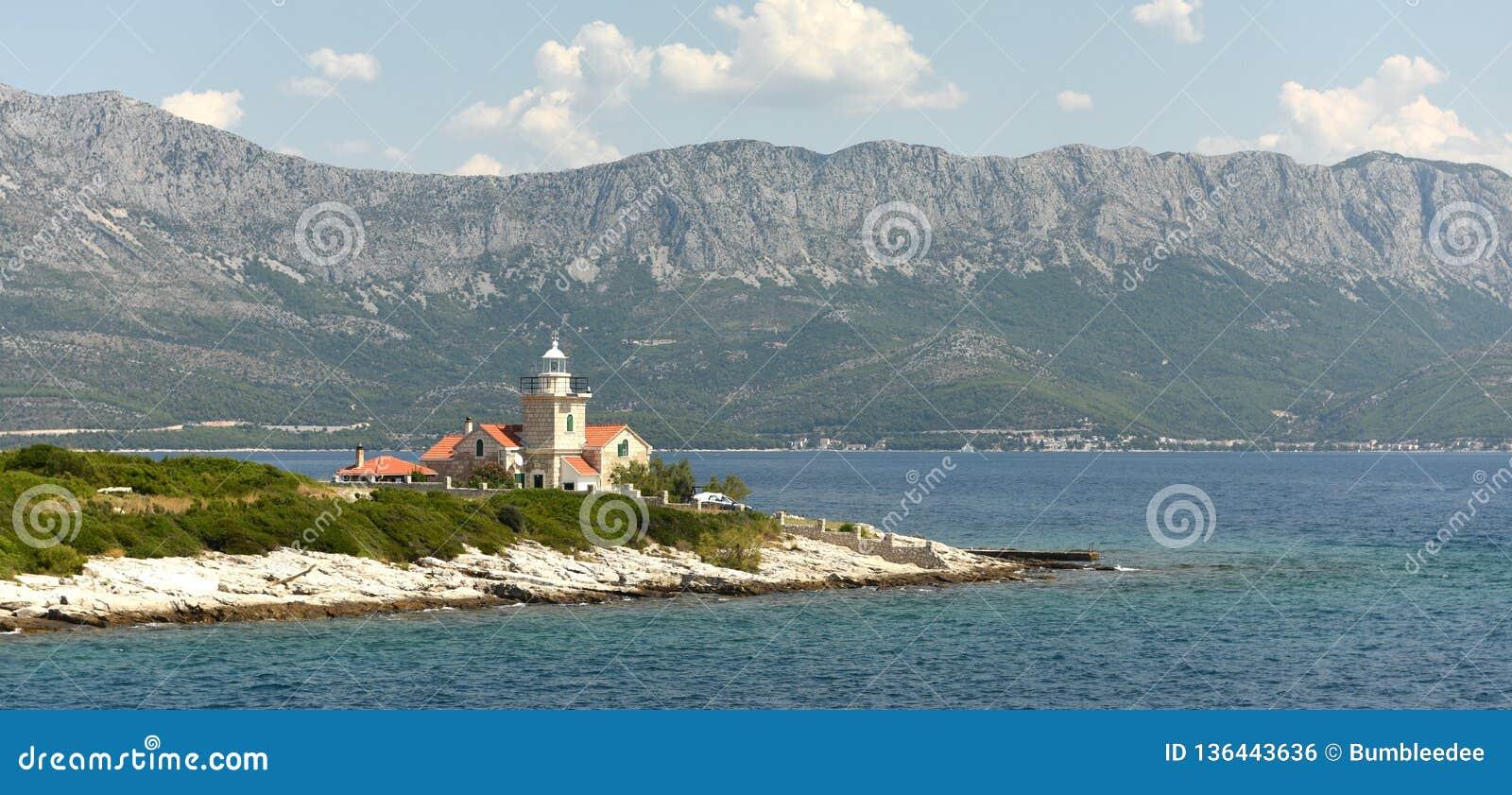 Sucuraj Lighthouse on island Hvar, Croatia