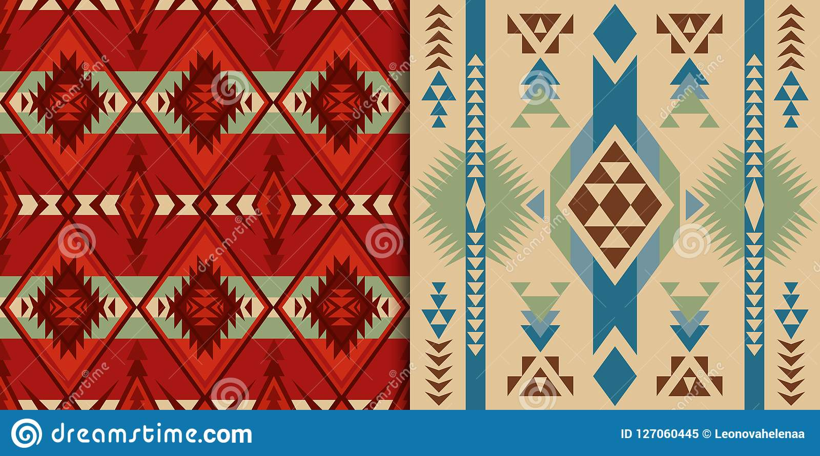 Sud-ouest indigène américain, indien, aztèque, géométrique, Navajo et