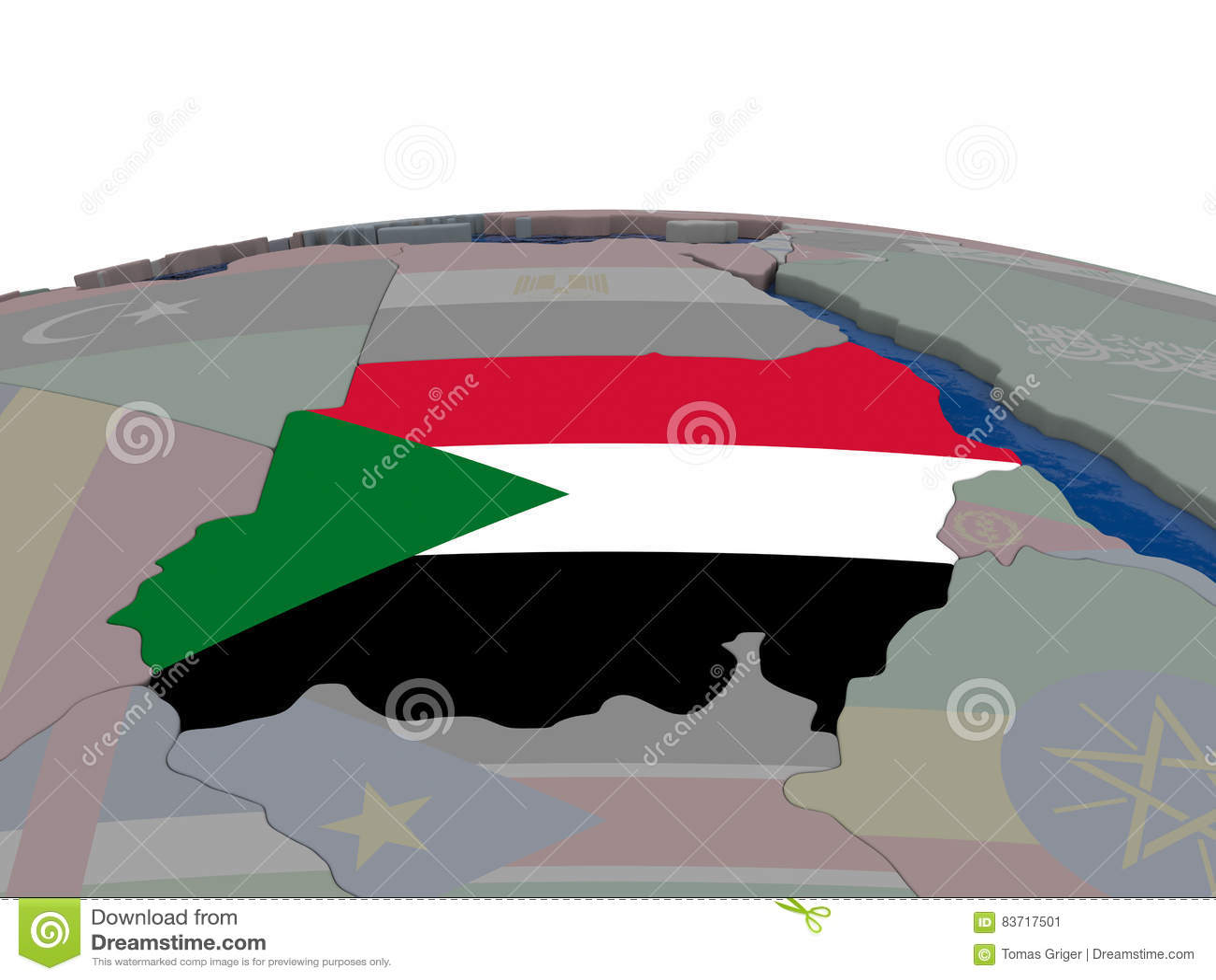 Sudan With Flag Stock Illustration