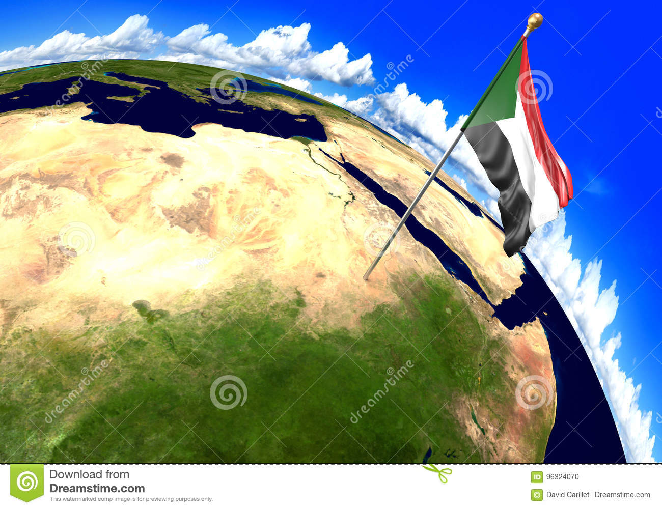 Sudan National Flag Marking The Country Location On World Map Stock ...