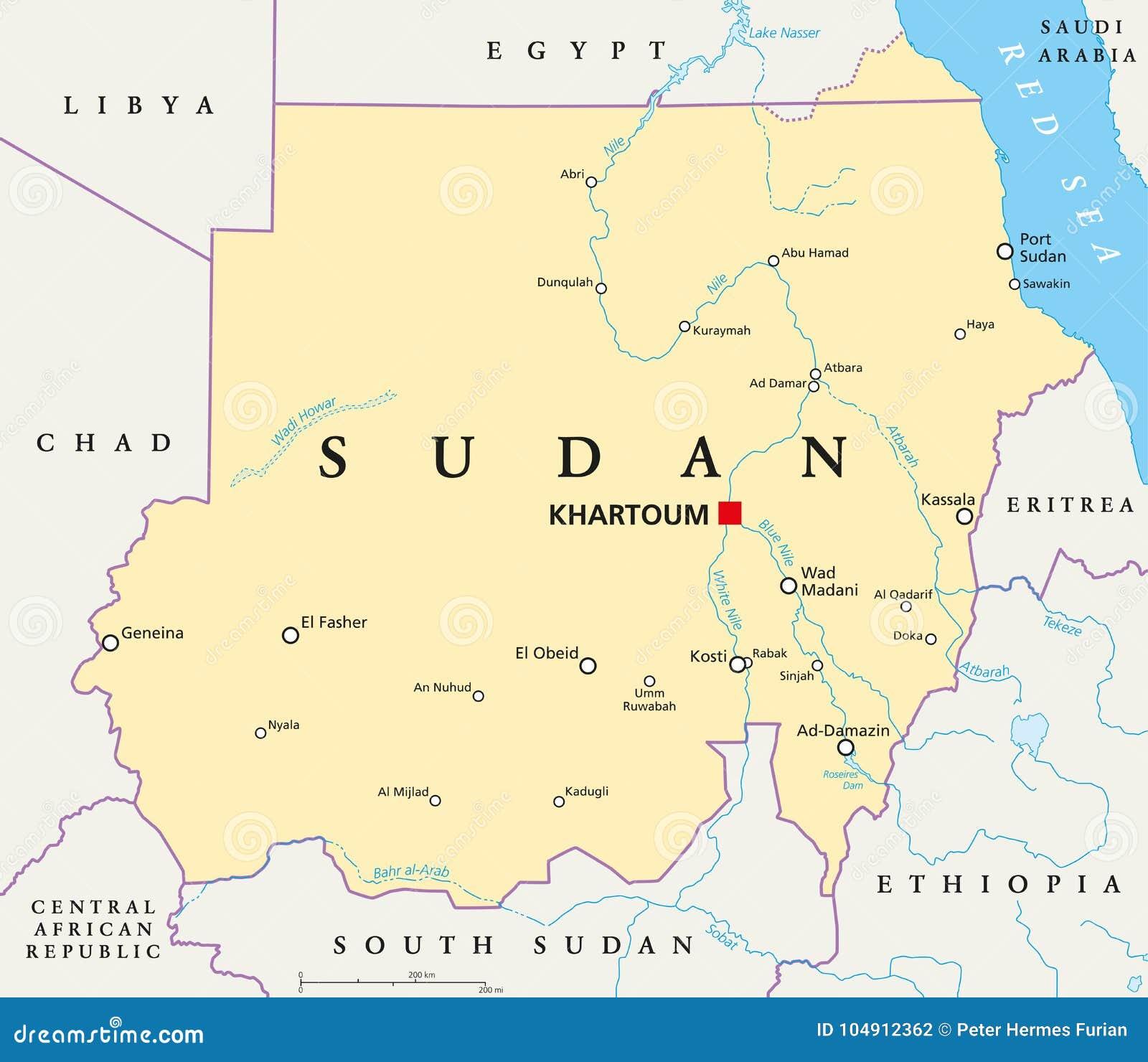 Sudan Political Map stock vector. Illustration of capital - 104912362