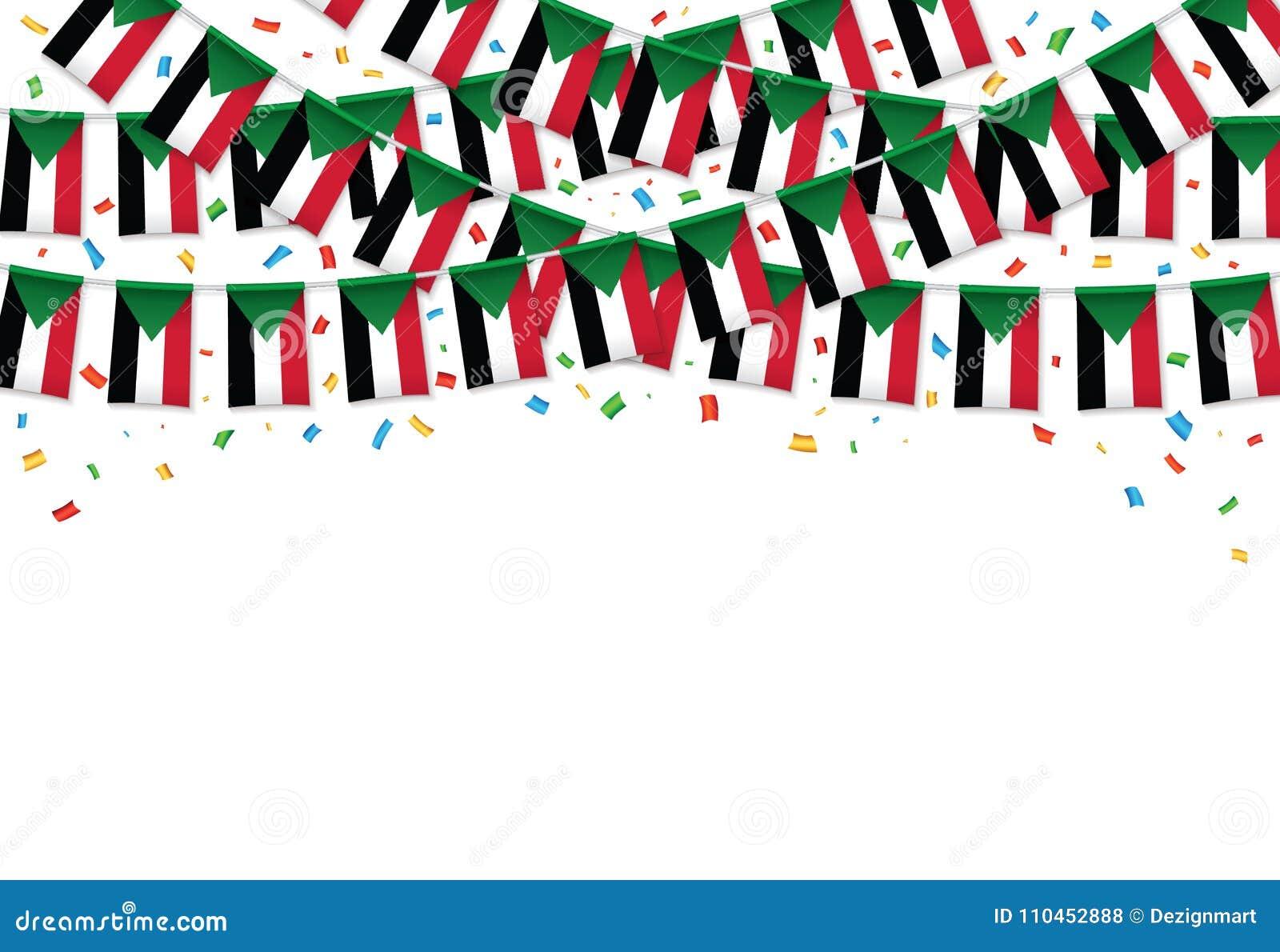 Sudan sjunker vit bakgrund för girlanden med konfettier, hängningbunting för den Sudan självständighetsdagen