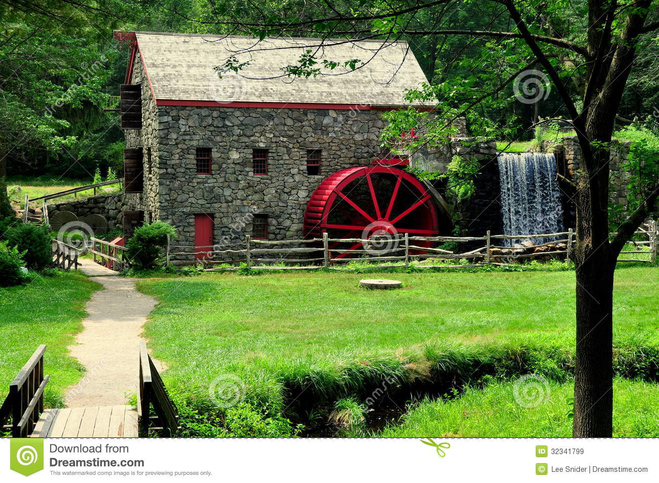 Marble Water Wheels : Sudbury ma old stone grist mill stock image