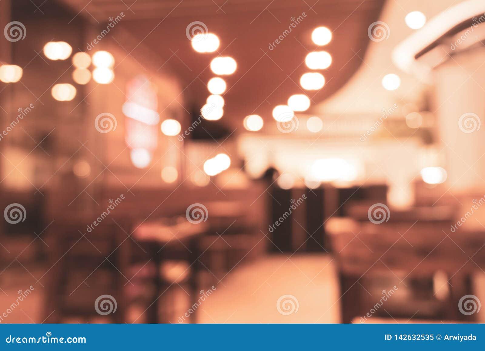 Suddig bakgrund på restaurangsuddighetsbakgrund med bokeh