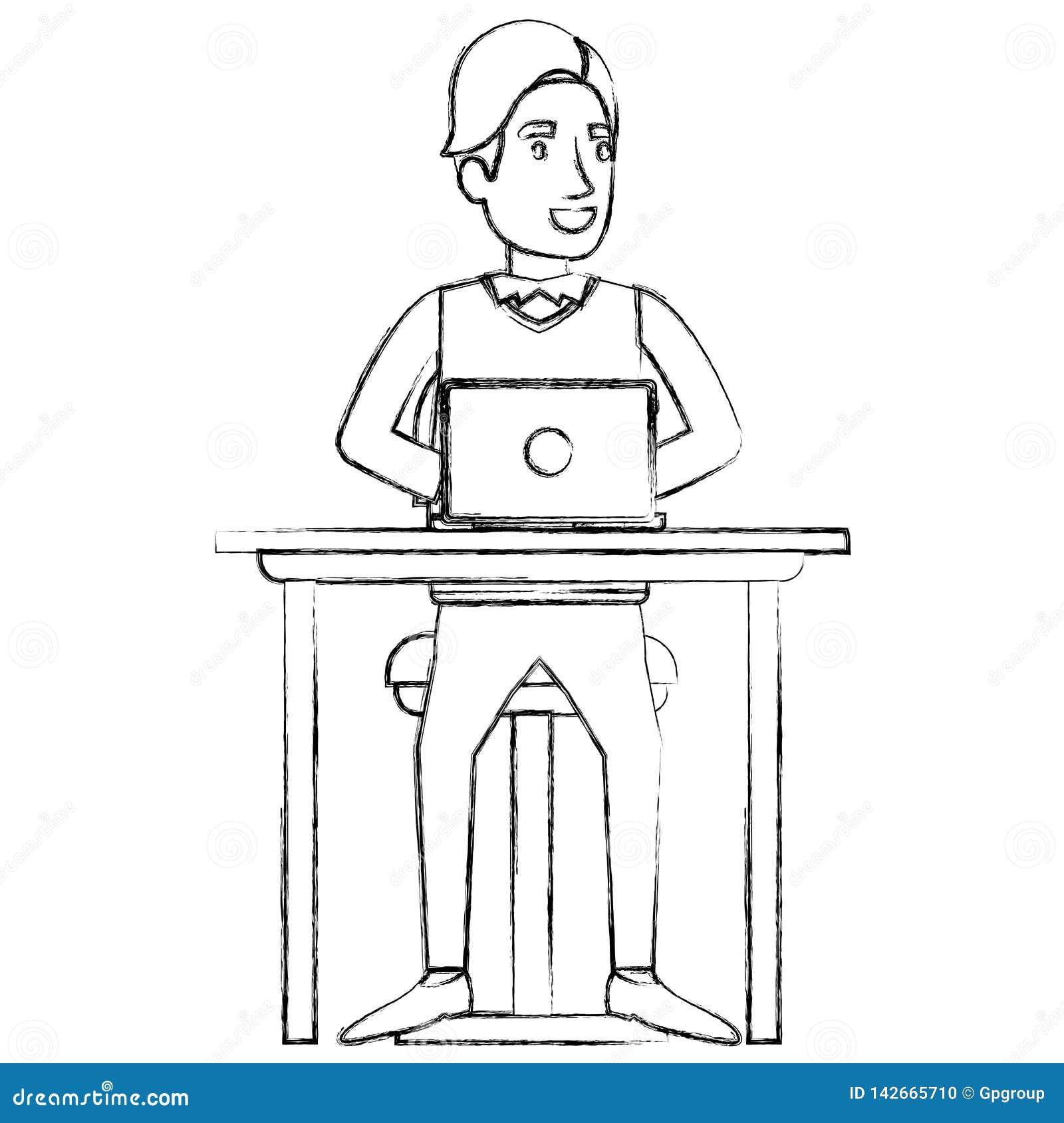 Suddig kontur av mannen med formellt dräkt- och sidofranshår och att sitta i stol i skrivbord i bärbar datorapparat