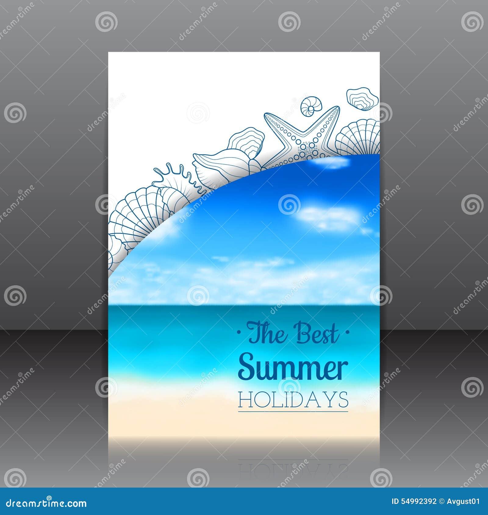 Suddig sommarreklamblad med snäckskal och sjöstjärnor
