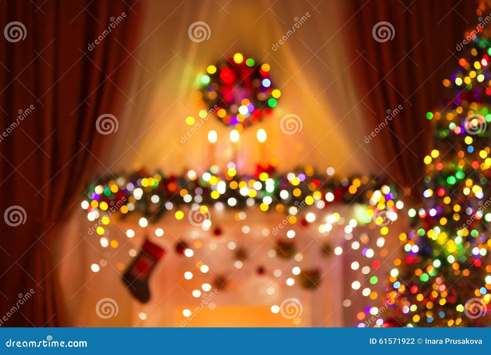 Suddigt julrum tänder bakgrund, De Fokusera Xmas ljus