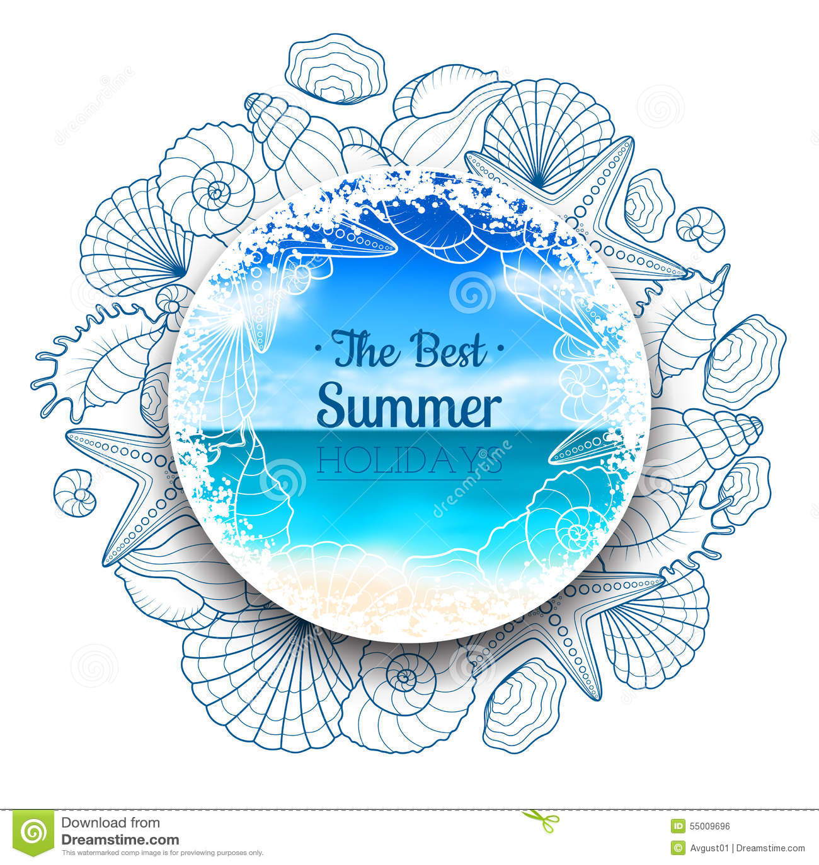 Suddigt sommarbaner med snäckskal och sjöstjärnor
