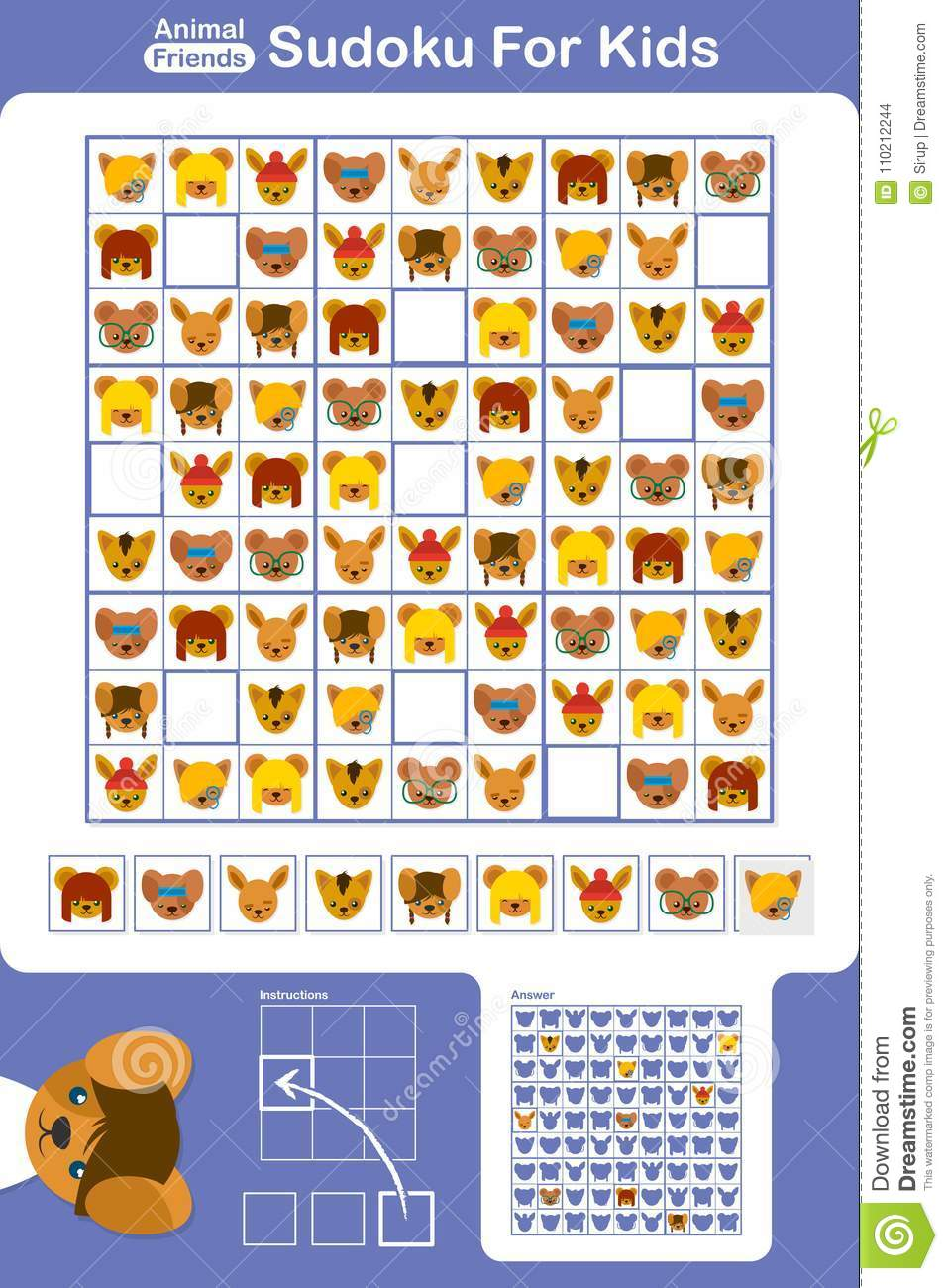 photograph about Sudoku for Kids Printable known as Sudoku Puzzle Grid For Children With Cartoon Pets Inventory