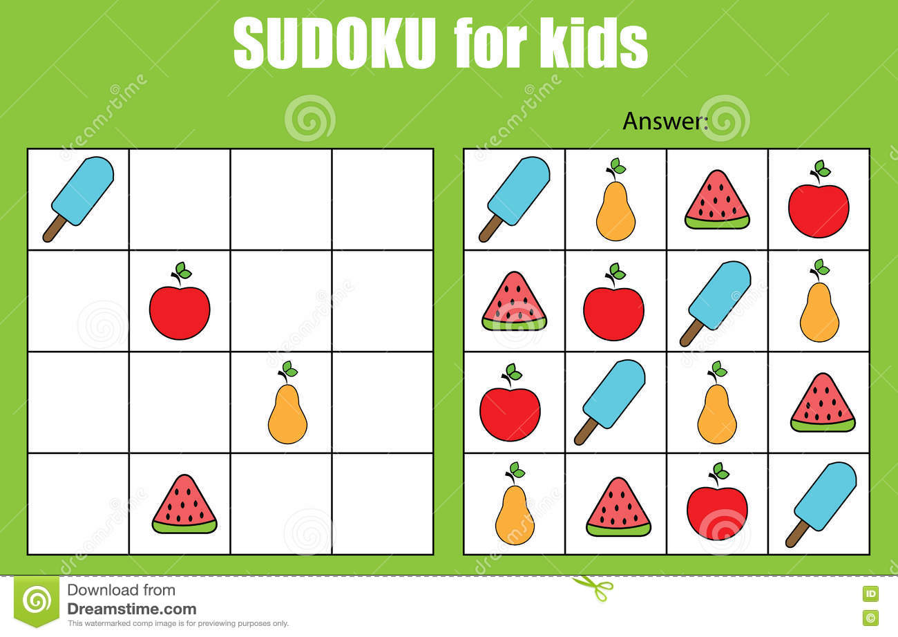 sudoku game for children kids activity sheet - Kids Activity Sheet