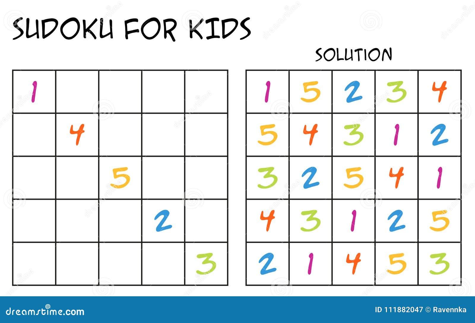 Sudoku per i bambini con la soluzione con i numeri for Sudoku facile da stampare