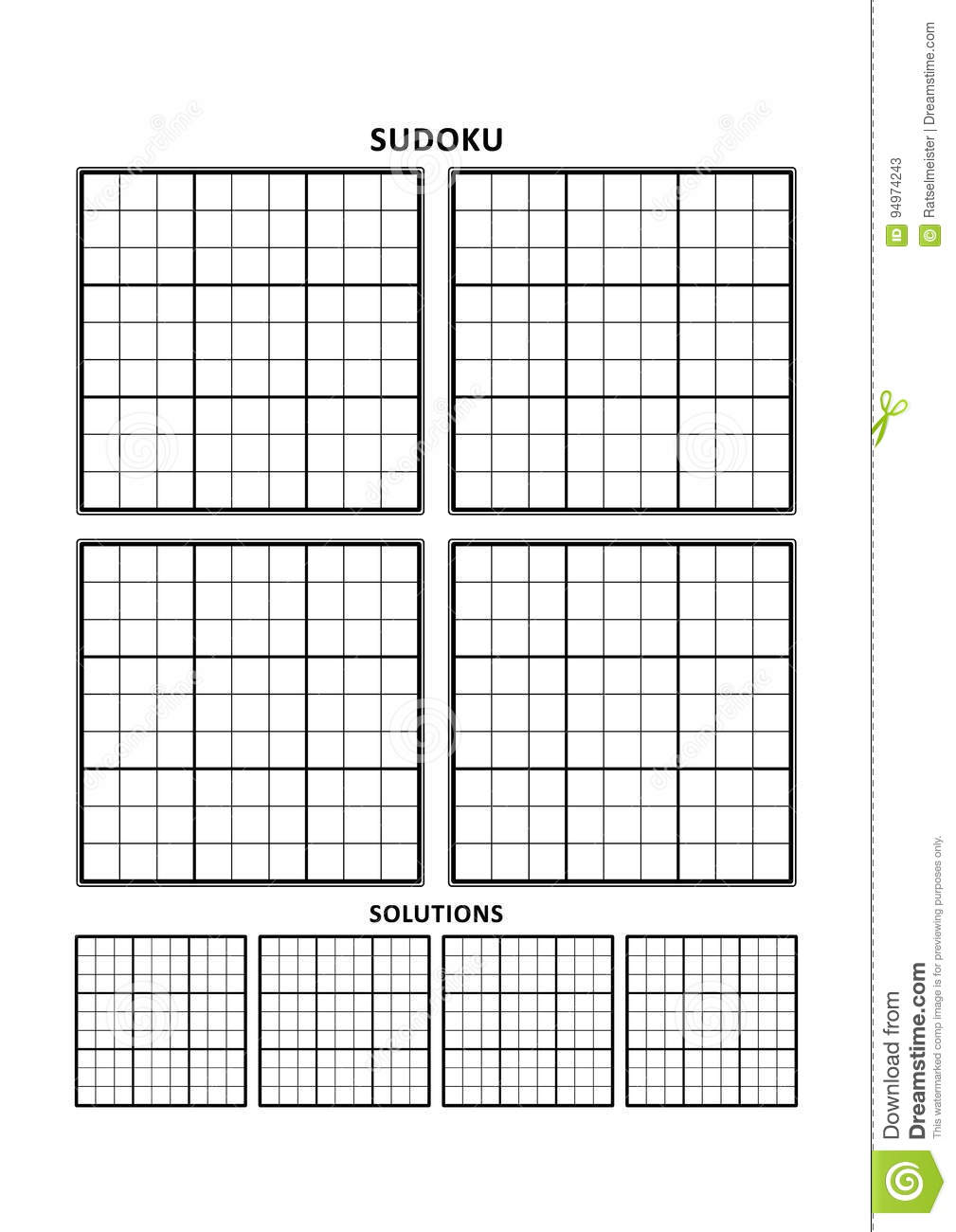 photo relating to Blank Sudoku Grid Printable titled Sudoku Template, 4 Grids With Companies Upon A4 Or Letter