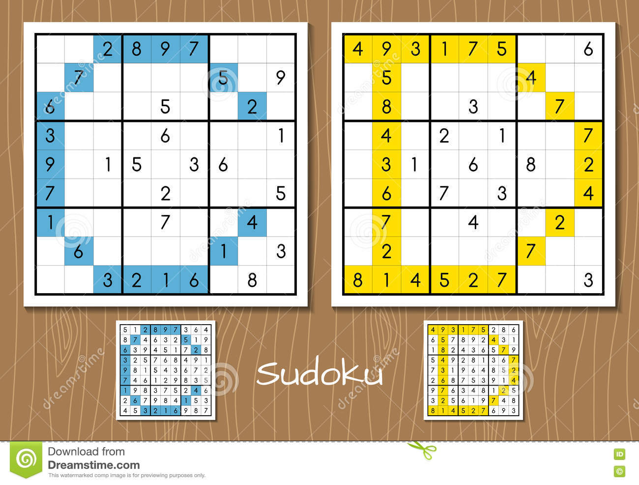 sudoku vector set with answers c d letters