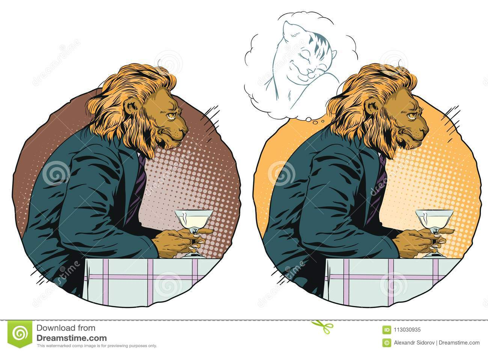 Sueño del hombre León romántico Sueños masculinos de una muchacha Gente en im