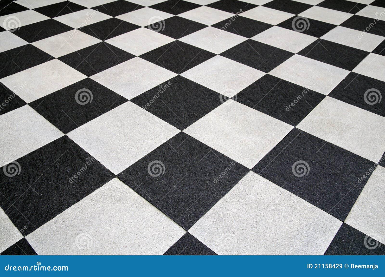 Suelo de azulejos blanco y negro cuadrado - Azulejos y suelos ...