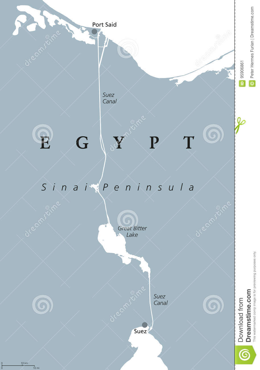 Suez Canal political map stock vector. Illustration of geography ...
