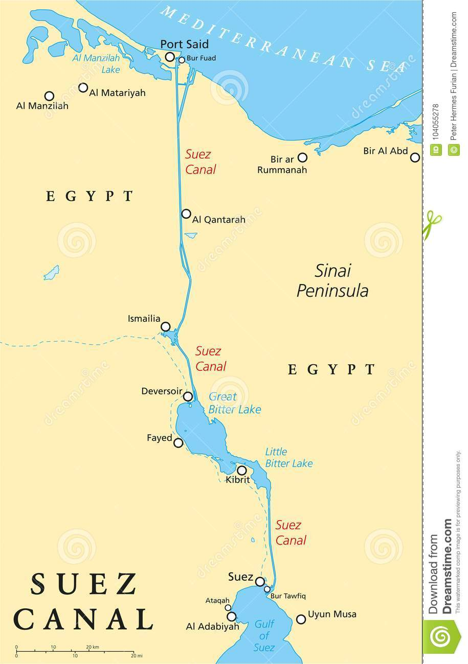 Suez Canal Political Map stock vector. Illustration of africa