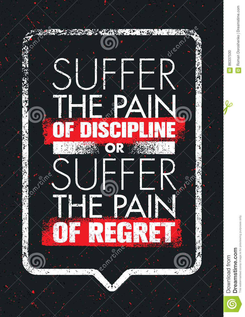 Download Suffer The Pain Of Discipline Or The Pain Of Regret. Sport And  Fitness Creative
