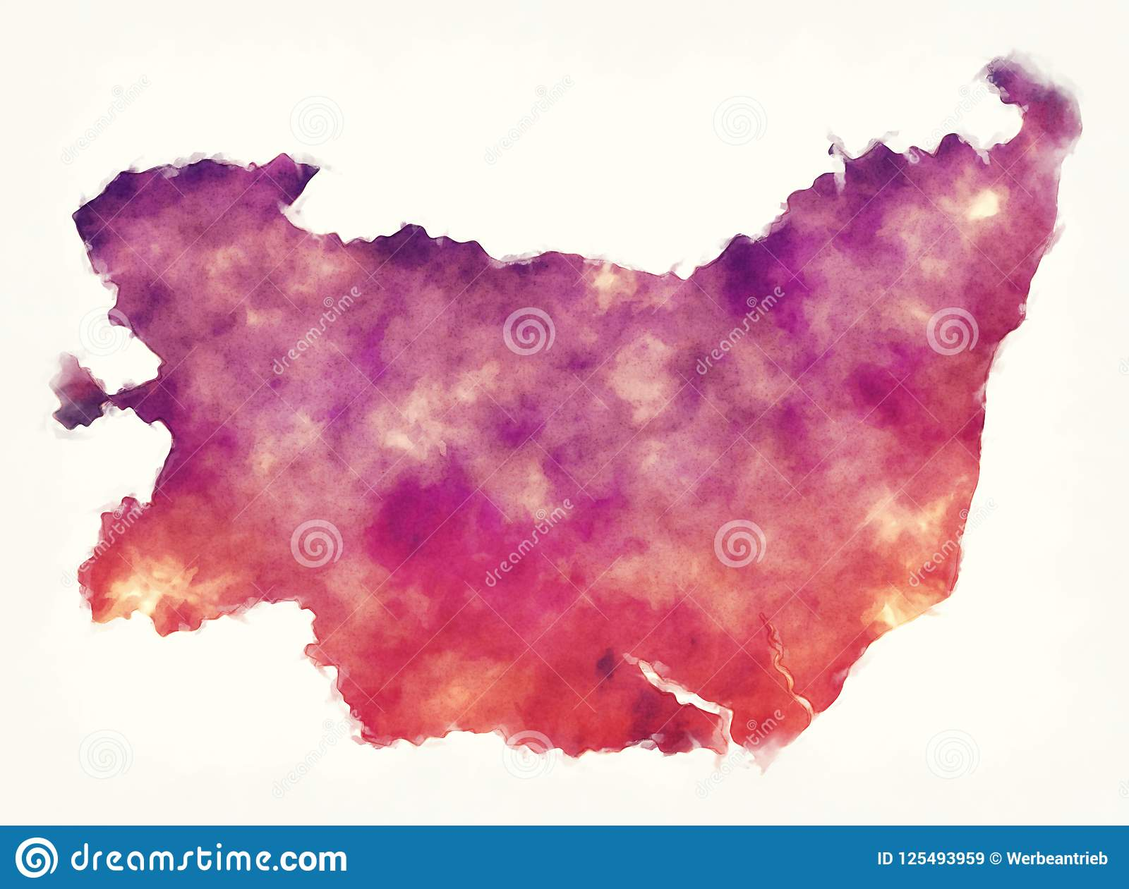 Suffolk County England Map.Suffolk County Map England Uk Watercolor In Front Of A White