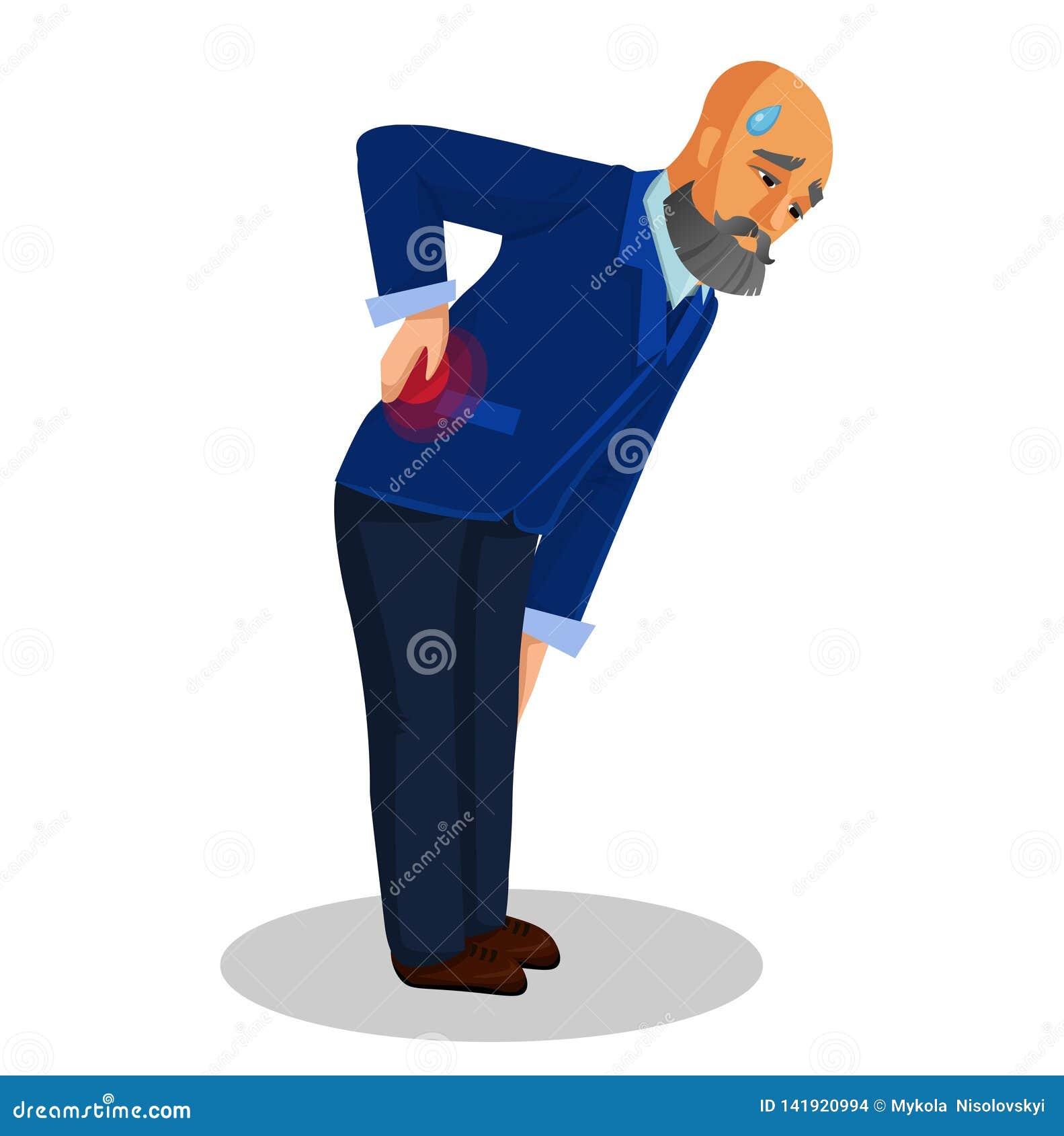 Sufrimiento del viejo hombre del ejemplo plano del dolor de espalda