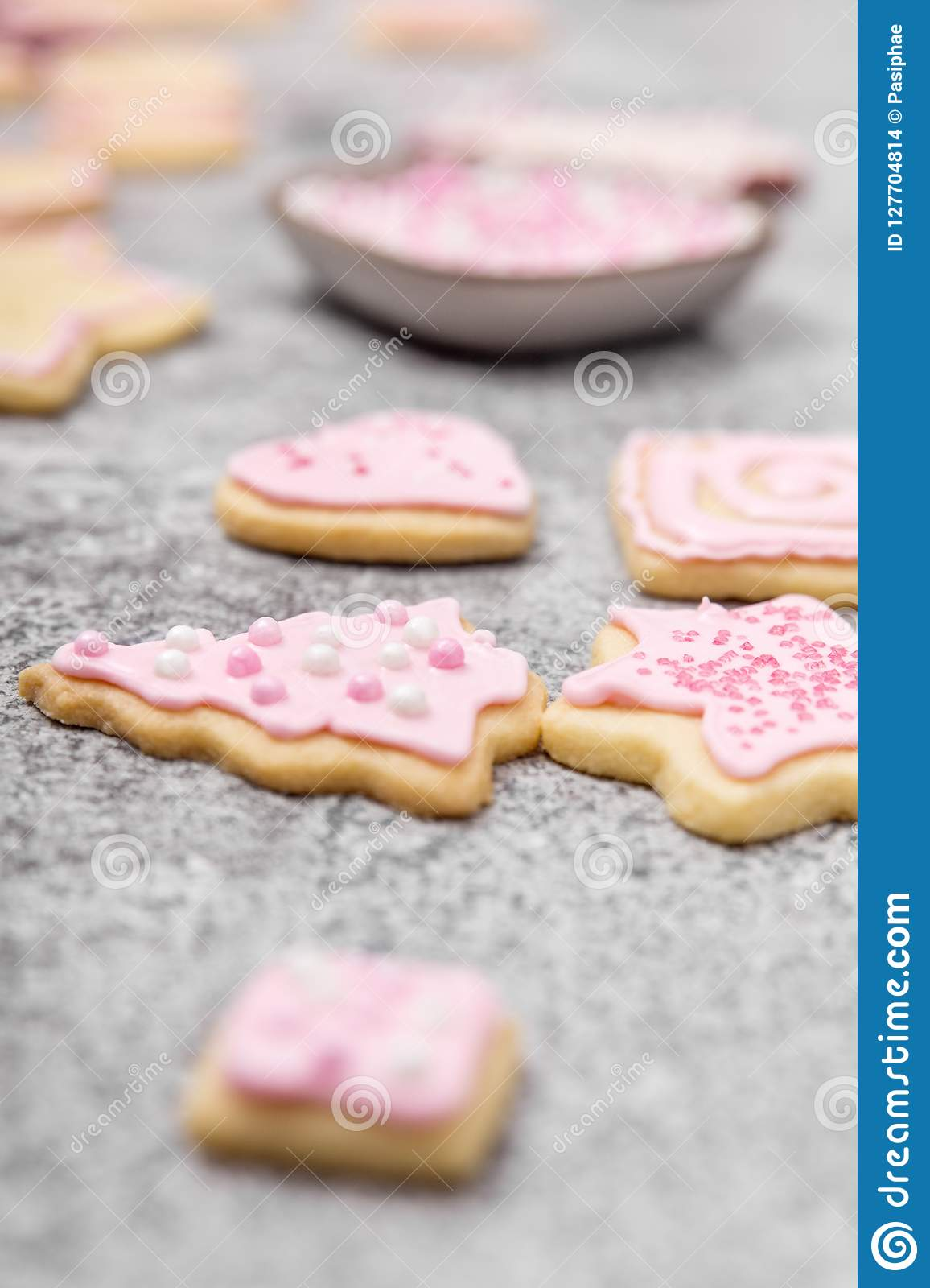 Sugar Bakery Christmas Cookies With Pink Royal Icing And Frosting