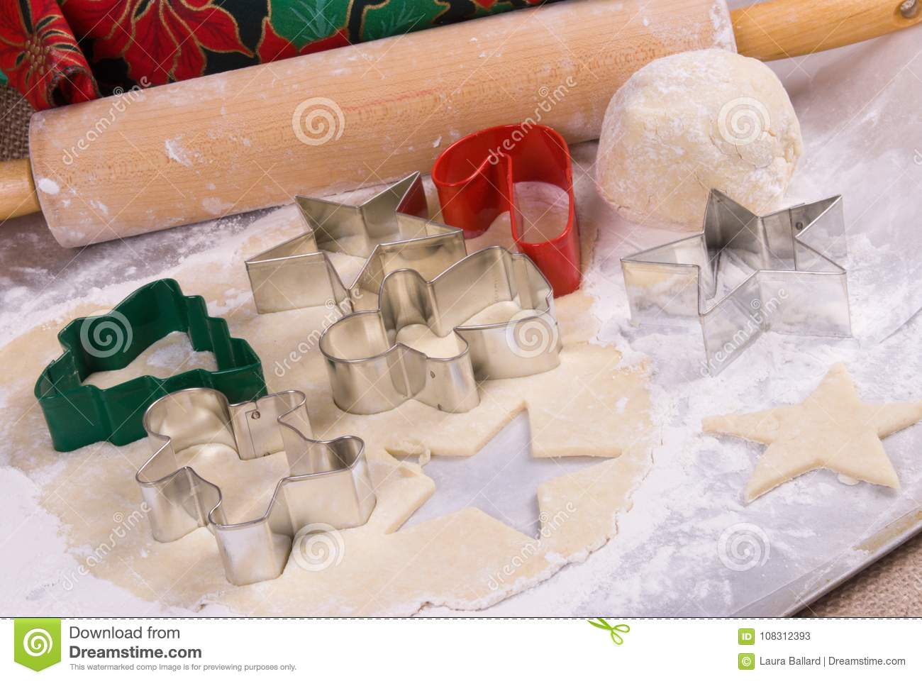 Sugar Cookie Dough With Holiday Themed Cutters Stock Image Image