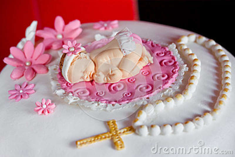 Sugar Decorations For Christening Or Birthday Cake Stock Image