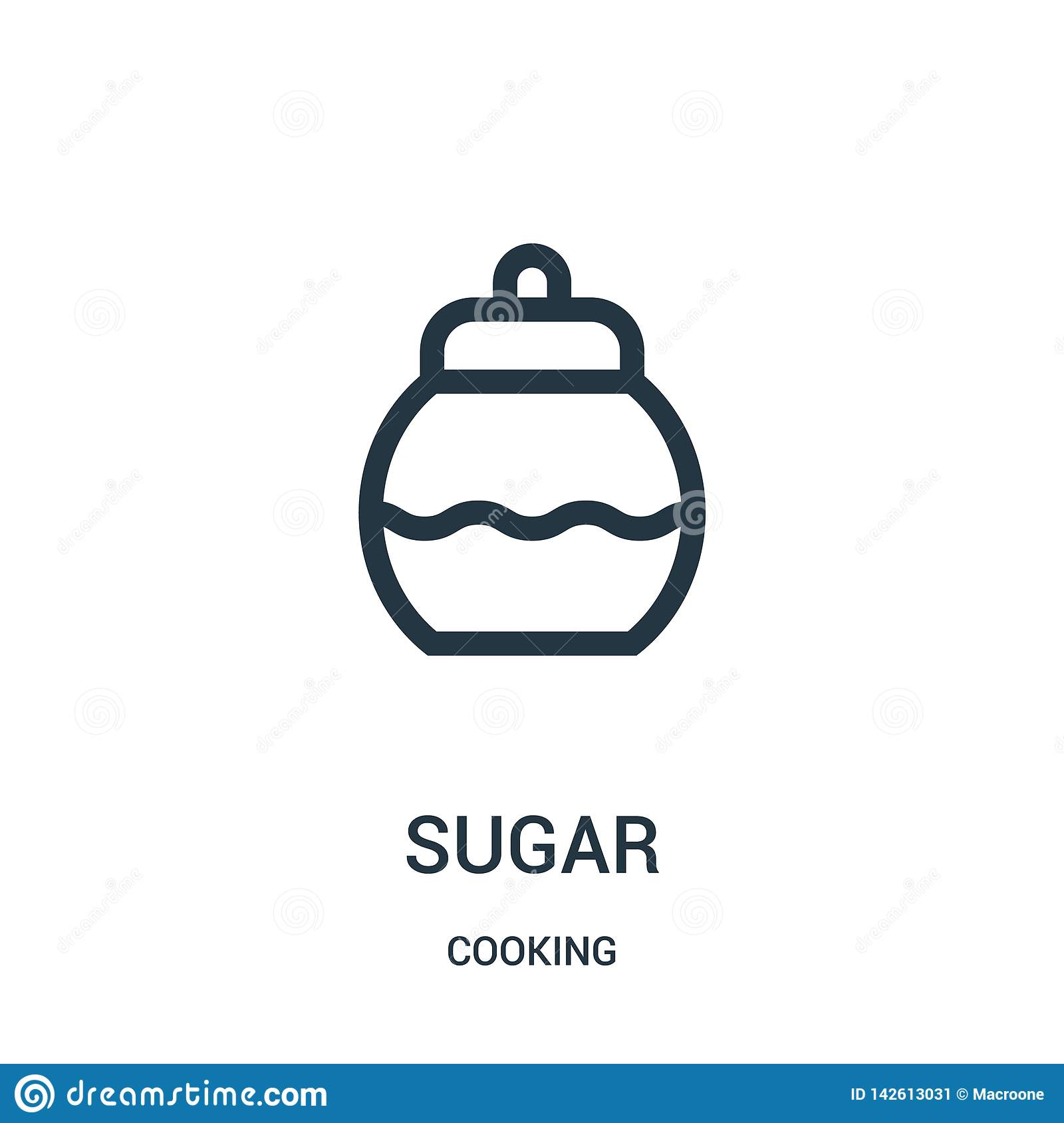 sugar icon vector from cooking collection. Thin line sugar outline icon vector illustration. Linear symbol